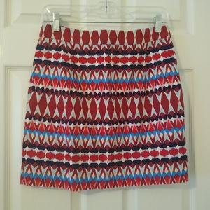 Size 2 J. Crew red & blue short pencil skirt